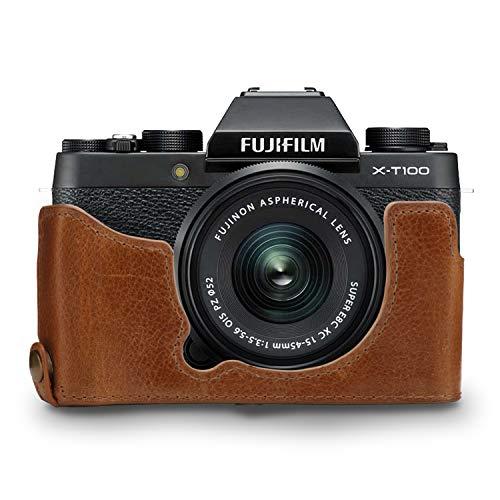 MegaGear Ever Ready - Funda para Fujifilm X-T100 (de Cuero auténtico, con Correa) Color marrón Oscuro