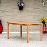 Amazonia Delaware Rectangular Dining Table | Teak Finish | Durable and Ideal for Indoors and Outdoors, Light Brown