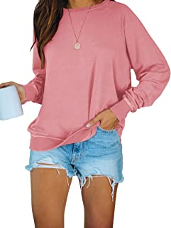 PRETTODAY Women's Casual Sweatshirts Long Sleeve Round Neck Shirts Loose Tops