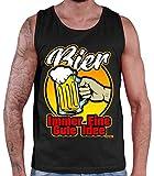 Hariz - Camiseta sin mangas para hombre, diseño con texto 'Bier immer eine Gute Idee' Negro XXXXL