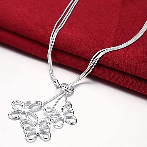DOOLY Collar con Colgante de Mariposa con Cadena de Tres Serpientes de Plata de Ley 925 para Mujer, joyería de Moda de Compromiso de Boda