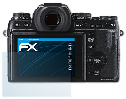 atFoliX Schutzfolie kompatibel mit Fujifilm X-T1 Folie, ultraklare FX Bildschirmschutzfolie (3X)