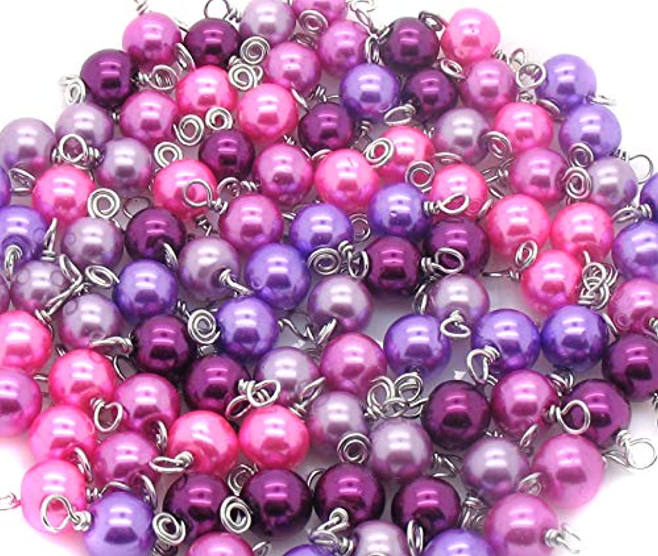 30 Glass Pearl Bead Charms - 8mm Wire-Wrapped Bead Dangles - Dangle Charms in Purple Pink Orchid - Set 2
