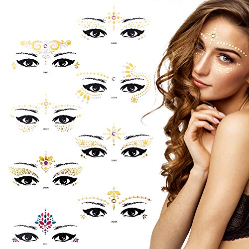 Bundle Monster 8PC Womens Face Jewel Tattoo Glitter Stickers Rhinestone Gem Decals - Self-Adhesive Festival Costume for Eye Forehead & Body