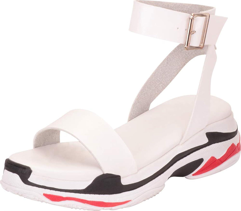 Cambridge Select Women's Buckled Ankle Strap Sporty colorblock Chunky Flatform Sandal