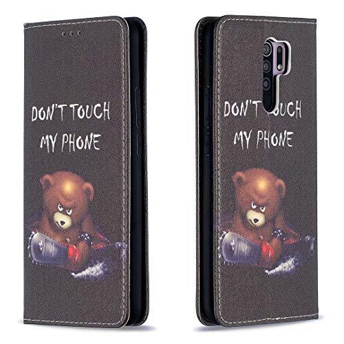 Miagon Brieftasche Hülle für Xiaomi Redmi 9,Kreativ Gemalt Handytasche Case PU Leder Geldbörse mit Kartenfach Wallet Cover Klapphülle,Bär Sah