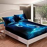 Juego de sábanas bajeras con diseño de caballito de mar para niños y niñas, adolescentes, galaxia, decoración de dormitorio, funda de cama de Sealife, tamaño individual con 1 funda de almohada