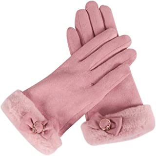 WUXiaodanDan Ladies Winter Gloves Riding Driving Gloves Touch Screen Plus Velvet Thick Gloves