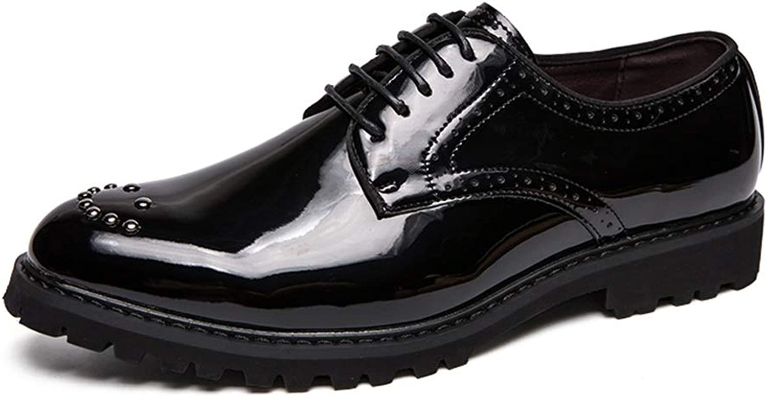 JIALUN-shoes Men's Simple Fashion Oxford Casual Comfortable Low-top Personality Rivet Patent Leather Formal shoes