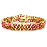 25.00 CT Cut Round Red Ruby 18k Yellow Gold Plated 925 Sterling Silver Tennis Bracelet (10 MM Width x 7.5 Inch Length)