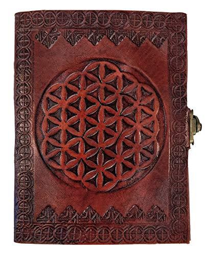 Kooly Zen Notizblock, Tagebuch, Buch, echtes Leder, Vintage, Blume des Lebens, Metallverschluss, Vintage, 13 cm x 17 cm, 240 Seiten, Premiumpapier
