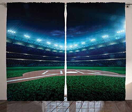 Ambesonne Sports Decor Curtains by, Professional Baseball Field at Night with Spotlights Playground Stadium League Theme, Living Room Bedroom Decor, 2 Panel Set, 108W X 84L Inches, Green Blue