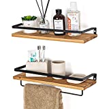 Baldas Pared de Madera y Metalico Set of 2, Estante Flotante Rusticos Wood Floating Shelves Metal...