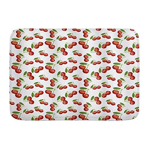 Throwpillow Alfombrilla De Baño Antideslizante Diseño Patrón Cereza Fruta Baya Fresca Verano Verde Jardín Alfombra Lavable a Máquina