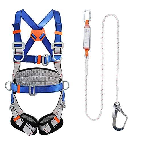 Kit di Imbracature Lavoro Aereo,Imbragatura di Sicurezza Protezione Anticaduta con Tampone for l'arrampicata Elettricista Edilizia Esterno Fibbia Grande 1.2 m,Single Rope HSGAV
