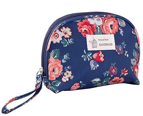 Half Round Voyage Sac cosmétiques Maquillage Portable Pouch Organisateur pour les filles de femmes, 1 pièce (Bleu foncé)
