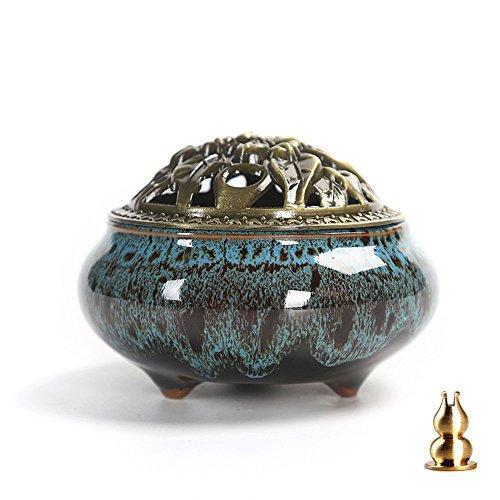 Guwheat Quemador de incienso de porcelana (incienso de palo / cono / bobina) Cuenco de bandeja de cera de cerámica con sostenedor de palo de incienso de calabaza de latón (Azul Fambe)