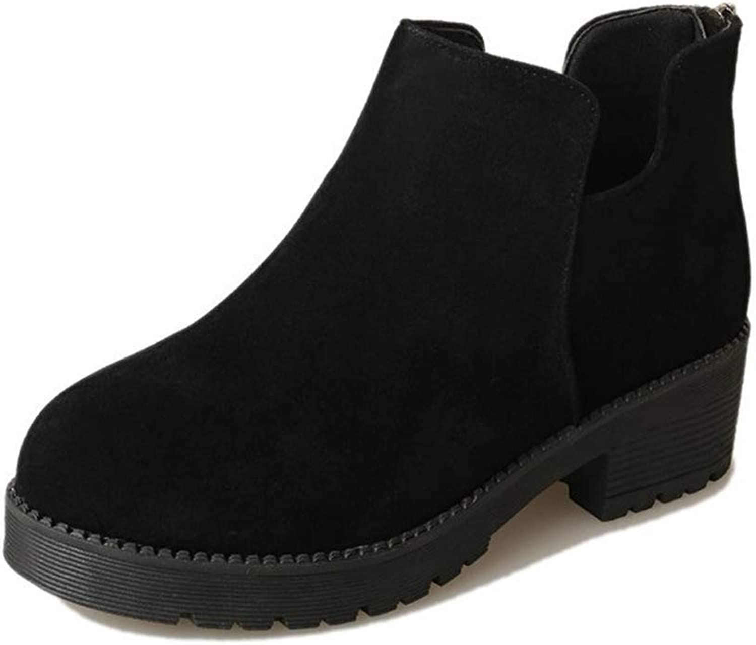 Super color Women's Comfortable Slip on Faux Suede Chunky Heel Ankle Chelsea Boots