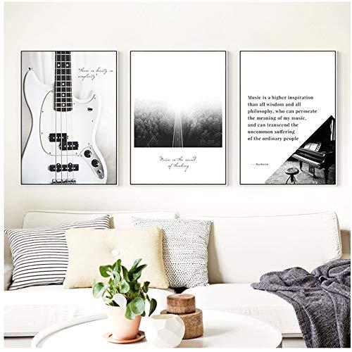 CHENSH Gitarre Klavier Noten und Vögel Nebel Straße Leinwand Malerei Drucken Poster Bild Schlafzimmer Wohnzimmer Dekor-60x80cm / 23.6x31.4 / in/No Frame