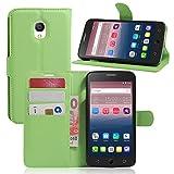 Ycloud Tasche für Alcatel OneTouch Pop Star 3G Hülle, PU Ledertasche Flip Cover Wallet Case Handyhülle mit Stand Function Credit Card Slots Bookstyle Purse Design grün
