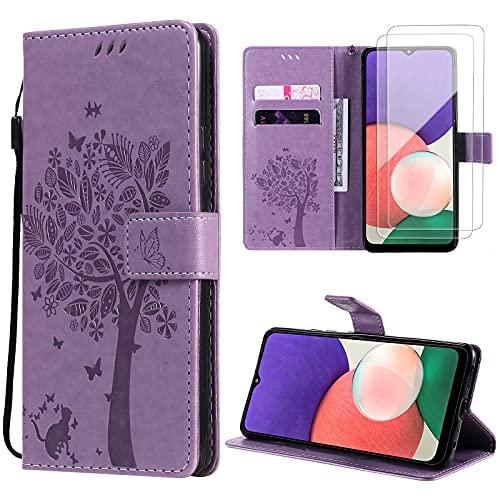 Oududianzi Funda para Samsung Galaxy A22 5G + [2 x Protectore Pantalla] Cierre Magnético Flip Case, PU Cuero Billetera Carcasacon Tapa Ranuras para Tarjetas y Soporte -Púrpura