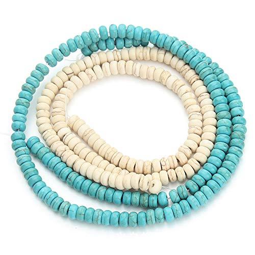Filo Di Perline Turchese Collana Di Perle Turchesi Perle Di Pietre Preziose Distanziatore Perle Palle Perline Decorative Intermedie Per Gioielli Con Bracciale Collana 2 Fili Diy (Bianco E Blu)