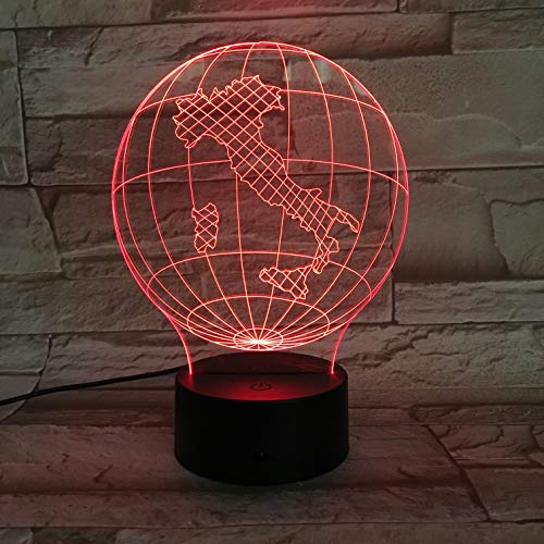 3D Optical Illusion Lamp Led Abstract Map Night Light 16 Colors Changing USB Bedside Table Desk Lamp for Kids Christmas Birthday Holiday Gifts Home Decoration Touch Control Dimmable