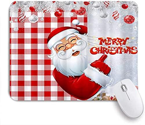HARXISE Alfombrilla Gaming,Feliz Navidad Dibujos Animados Lindo Papá Noel Usar Trajes Rojos de Navidad Esconderse detrás de Cuadros Rojos,con Base de Goma Antideslizante,240×200×3mm