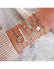 Cathercing 5 Pack Armband Set voor Vrouwen Meisjes Sieraden Armband Strand met Kralen Turtle Boho Armband Enkelbandje Set Verstelbare Handgemaakte Dagelijkse Sieraden Gift voor Tiener Meisjes