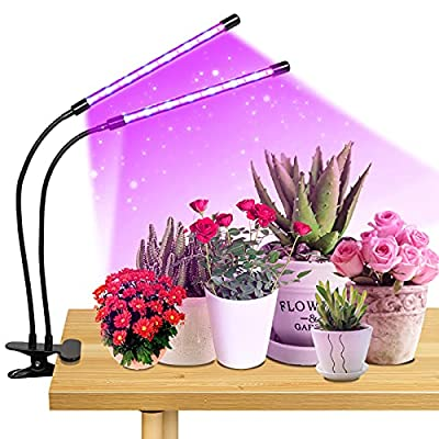 Plant Grow Light for Plant Growing Light Dual Head 20W 40Leds Full Spectrum with Auto On/Off 3/9/12H Timer,9 Dimmable Levels,3 Switch Modes