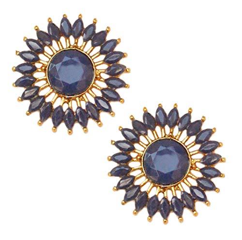 Pahal - Pendientes redondos de oro Jhumka de estilo tradicional de Kundan azul del sur de la India Bollywood para novias para mujer