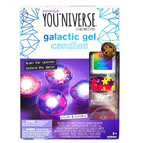 Just My Style YOUniverse Galactic Gel Candles by Horizon Group USA, DIY Girl STEM Science Kit, Make Your Own Starry Gooey Gel Slime Candles, 4 LED Candles Included, Pink, Blue, Purple