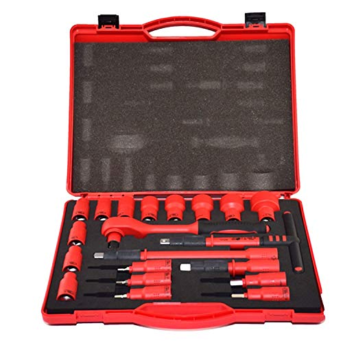 XIAOXINGXING 20 STÜCKE 1000 V VDE Isolierte Werkzeuge 1/2 Ratschen Steckschlüsselsätze T-Griff Verlängerungen Hex Bits Steckschlüsselsätze Hochspannungsbeständig (Color : A)