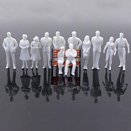 Evemodel 100Stk. Modelleisenbahn 1:50 weiß stehend sitzend Figuren Spur 0 Neu P50B