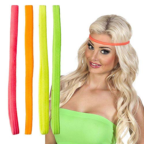 Boland 85961 - Stirnband Set, 4 Stück, elastisch, Stirnreif, Haarband, Accessoire, Mottoparty, Festival, Karneval