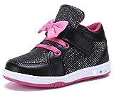 YILAN YL313 Toddler Glitter Shoes Girl's Flashing Sneakers With Cute Bowknot BK/FU-8