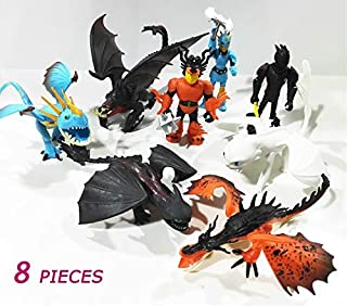 PAPEO Set 8 Toothless Toy 1.3-2.8 inch Hot PVC Action Figure Cartoon Movie Small Figures Toys Mini Model Figurine Statue Christmas Halloween Birthday Gift Collectible for Kids Adults