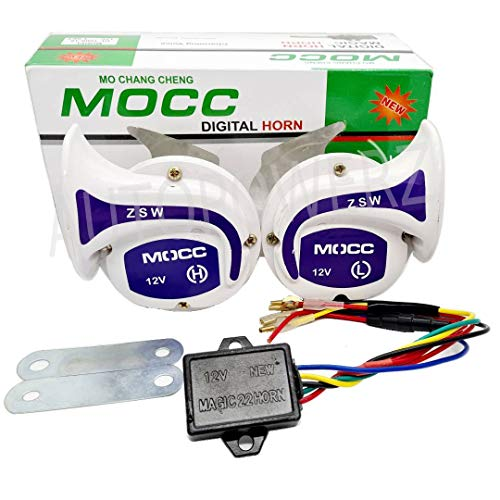 AUTOPOWERZ Mocc Horn 18 in 1 Digital Tone Magic Horn Set of 2 for All Bikes, Scooty and Cars (White)