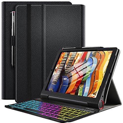 ELTD Tastatur Hülle für Lenovo Yoga Smart Tab (Deutsches QWERTZ), Hülle mit 7 Farben LED-Hintergrundbeleuchtung Kabellose Tastatur für Lenovo Yoga Smart Tab 10,1 Zoll 2019 (Ink)