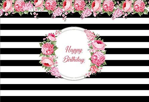 Feliz cumpleaños Fiesta Rayas Fabuloso Cartel de Flores Fondos fotográficos Estudio fotográfico A17 10x7ft / 3x2,2 m