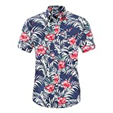 Camisa de manga corta para hombre con estampado floral de verano y cuello superior de los hombres de moda...