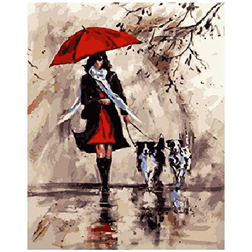 YSNMM Schilderij Door Getallen Diy Rode Paraplu Vrouwelijke En Hond Figuur Canvas Bruiloft Decoratie Art Picture Gift