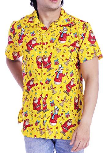 Virgin Crafts Christmas Hawaiian Shirts for Men Women Santa Claus Vacation Beach Party Aloha Shirt, Yellow, 2XL   Chest: 54-56 inch (137-142 cms)