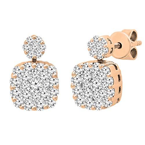 Dazzlingrock Collection Pendientes de tuerca de oro rosa de 18 quilates con diamantes blancos redondos de 1,12 quilates