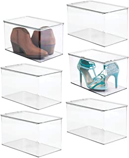 mDesign Stackable Closet Plastic Storage Box with Lid - Container for Organizing Mens and Womens Shoes, Booties, Pumps, Sandals, Wedges, Flats, Heels and Accessories - 7