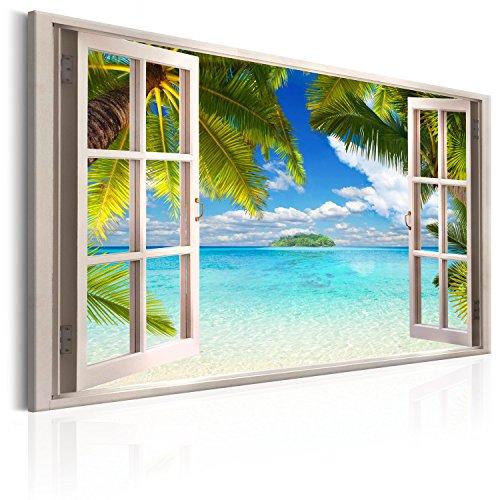 murando - Bilder Fensterblick 90x60 cm Vlies Leinwandbild 1 TLG Kunstdruck modern Wandbilder XXL Wanddekoration Design Wand Bild - Fenster Insel Meer See Palme blau c-C-0090-b-a