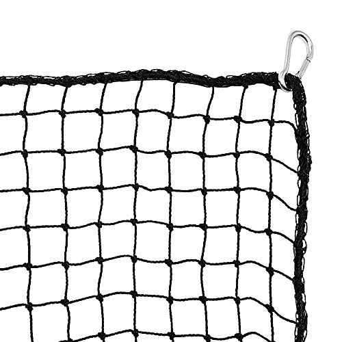 Heavy Duty Golf Netting High Impact Practice Barrier Net. Ball Containment for Hitting, Driving and Chipping. 10x10 Black Netting with 4 Carabiners