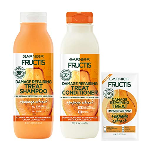 Garnier Haircare Fructis Damage Repairing Treat Shampoo and Conditioner, 98 Percent Naturally Derived Ingredients, Papaya, Nourish Dry Hair, 11.8 Oz Ea, W/Mask Sample, (Packaging May Vary)
