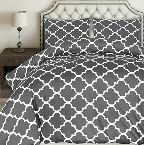 JLU Bedding Printed Duvet Cover Set - Brushed Microfibre Duvet Cover With 2 Pillowcases King Size,Grey-230x230cm