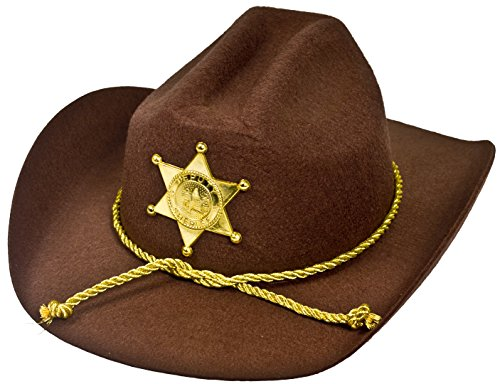 U.S AMERICAN SHERIFF - STURDY COWBOY HAT WITH BROWN FELT MATERIAL AND GOLD PLASTIC STAR SHERIFF BADGE